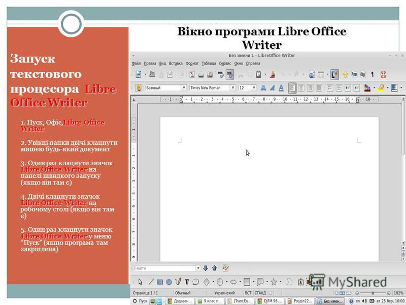 Libre Office Writer Запуск текстового процесора Libre Office Writer Libre Office Writer 1. Пуск, Офіс,Libre Office Writer 2. Увікні папки двічі клацнути мишею будь-який документ Libre Office Writer 3. Один раз клацнути значок Libre Office Writer на п