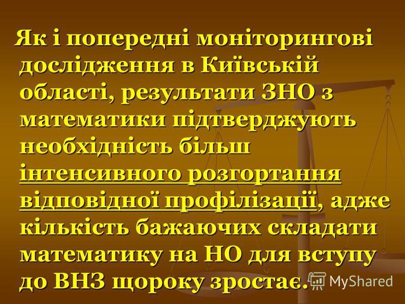 Як і попередні моніторингові дослідження в Київській області, результати ЗНО з математики підтверджують необхідність більш інтенсивного розгортання відповідної профілізації, адже кількість бажаючих складати математику на НО для вступу до ВНЗ щороку з