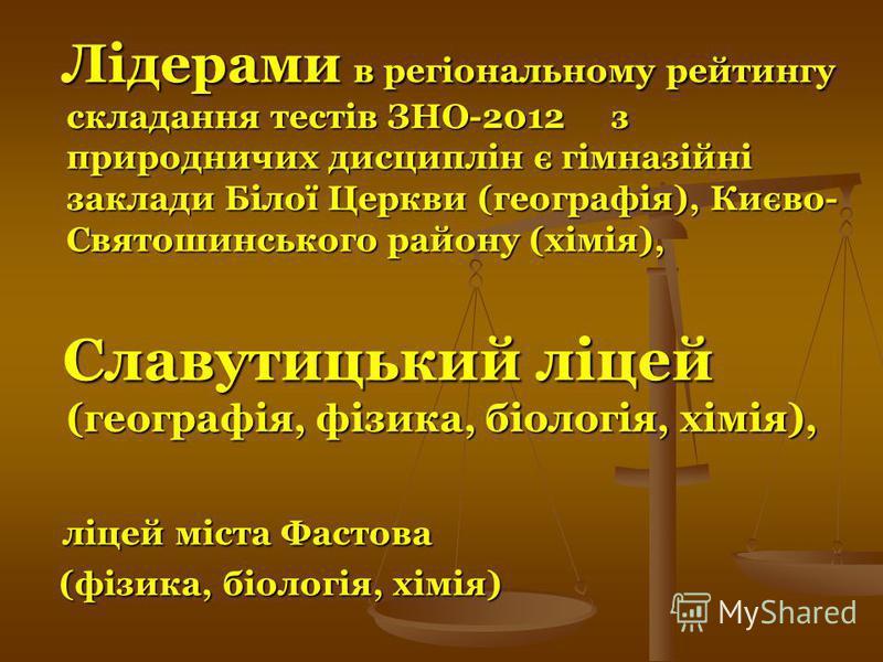 Лідерами в регіональному рейтингу складання тестів ЗНО-2012 з природничих дисциплін є гімназійні заклади Білої Церкви (географія), Києво- Святошинського району (хімія), Лідерами в регіональному рейтингу складання тестів ЗНО-2012 з природничих дисципл