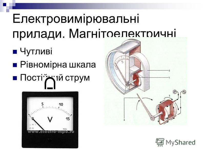 Електровимірювальні прилади. Магнітоелектричні Чутливі Рівномірна шкала Постійний струм