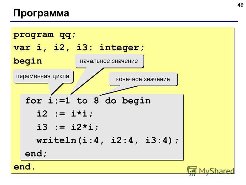 49 Программа program qq; var i, i2, i3: integer; begin for i:=1 to 8 do begin i2 := i*i; i3 := i2*i; writeln(i:4, i2:4, i3:4); end; end. переменная цикла начальное значение конечное значение