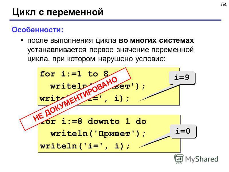 54 Цикл с переменной Особенности: после выполнения цикла во многих системах устанавливается первое значение переменной цикла, при котором нарушено условие: for i:=1 to 8 do writeln('Привет'); writeln('i=', i); for i:=1 to 8 do writeln('Привет'); writ