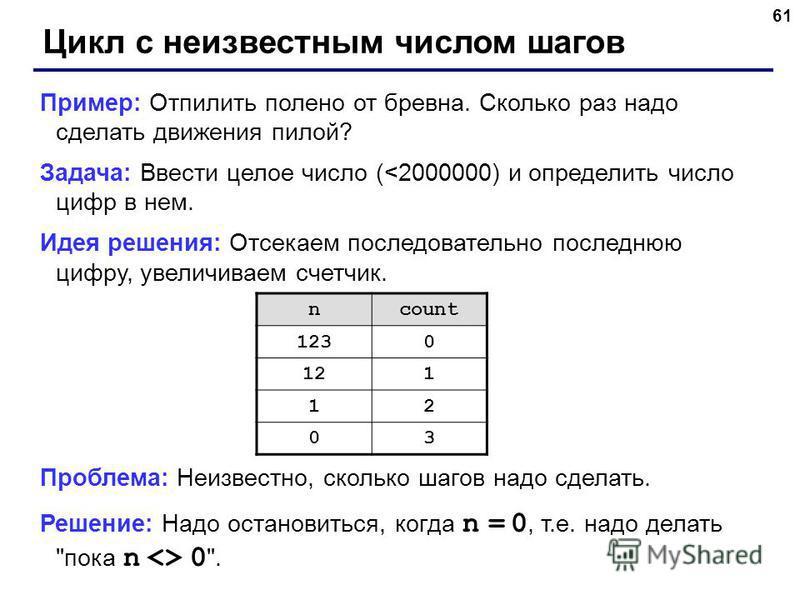 61 Цикл с неизвестным числом шагов Пример: Отпилить полено от бревна. Сколько раз надо сделать движения пилой? Задача: Ввести целое число (<2000000) и определить число цифр в нем. Идея решения: Отсекаем последовательно последнюю цифру, увеличиваем сч