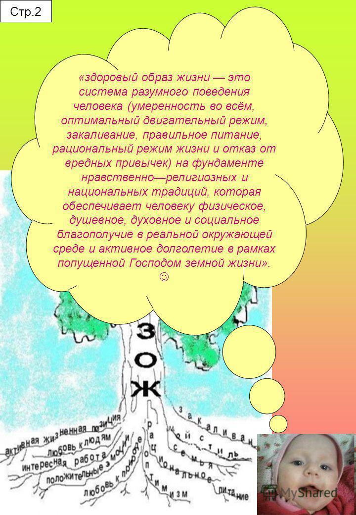 Стр.2 «здоровый образ жизни это система разумного поведения человека (умеренность во всём, оптимальный двигательный режим, закаливание, правильное питание, рациональный режим жизни и отказ от вредных привычек) на фундаменте нравственно религиозных и