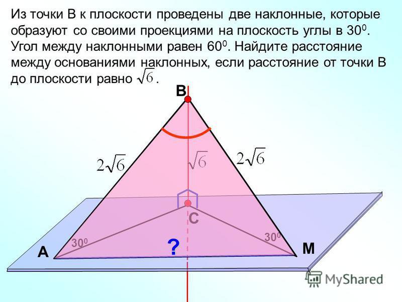 В С M А Из точки В к плоскости проведены две наклонные, которые образуют со своими проекциями на плоскость углы в 30 0. Угол между наклонными равен 60 0. Найдите расстояние между основаниями наклонных, если расстояние от точки В до плоскости равно. 3