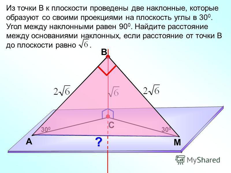 В С M А Из точки В к плоскости проведены две наклонные, которые образуют со своими проекциями на плоскость углы в 30 0. Угол между наклонными равен 90 0. Найдите расстояние между основаниями наклонных, если расстояние от точки В до плоскости равно. 3