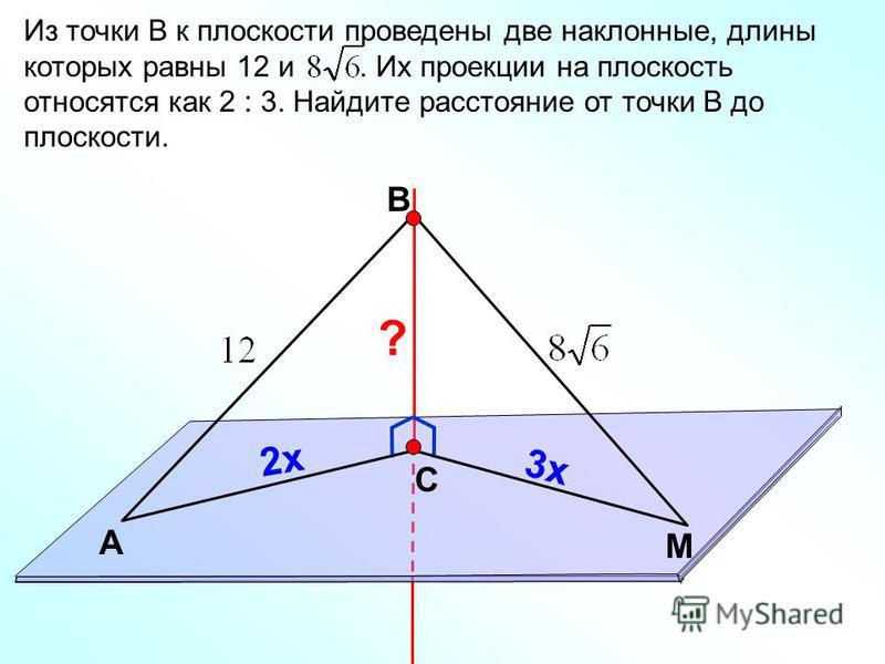 В С M А Из точки В к плоскости проведены две наклонные, длины которых равны 12 и. Их проекции на плоскость относятся как 2 : 3. Найдите расстояние от точки В до плоскости. ? 2 х 3 х