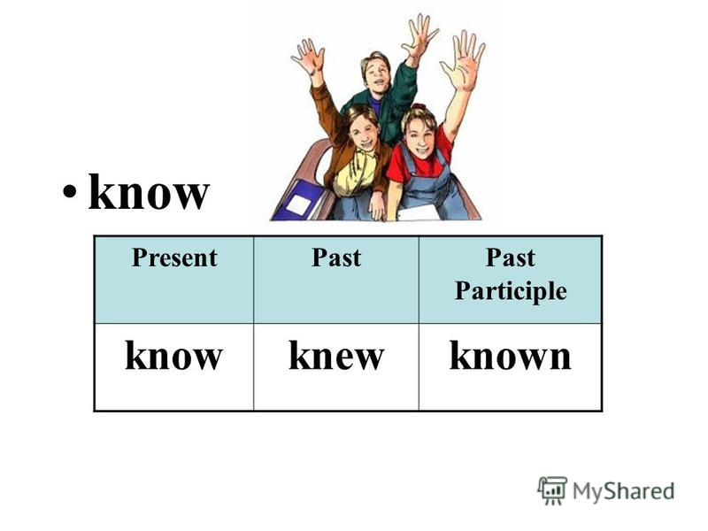 know PresentPastPast Participle knowknewknown