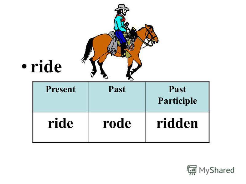 ride PresentPastPast Participle rideroderidden