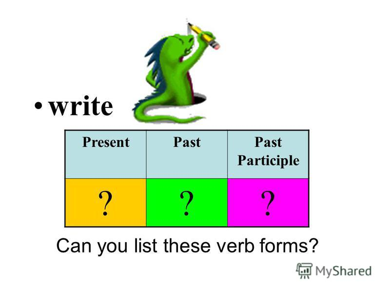 write Can you list these verb forms? PresentPastPast Participle ???