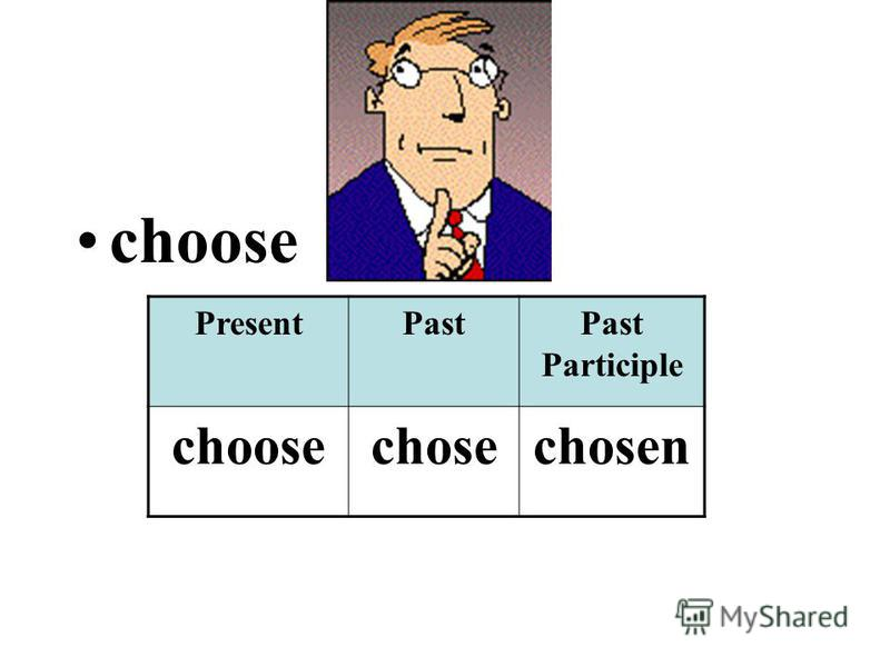 choose PresentPastPast Participle choosechosechosen