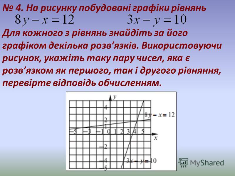 4. На рисунку побудовані графіки рівнянь Для кожного з рівнянь знайдіть за його графіком декілька розвязків. Використовуючи рисунок, укажіть таку пару чисел, яка є розвязком як першого, так і другого рівняння, перевірте відповідь обчисленням.