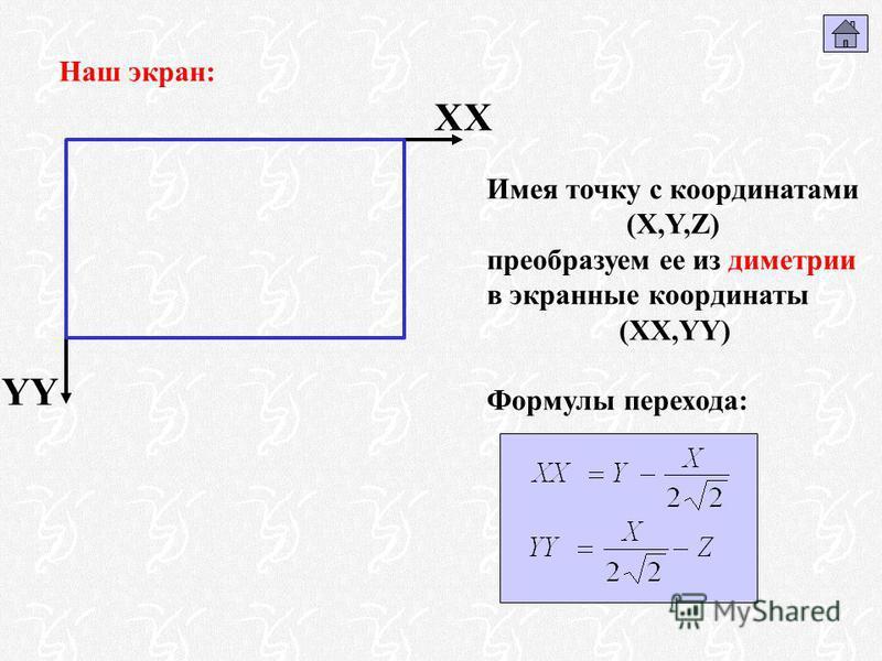 Наш экран: XX YY Имея точку с координатами (X,Y,Z) преобразуем ее из диметрии в экранные координаты (XX,YY) Формулы перехода: