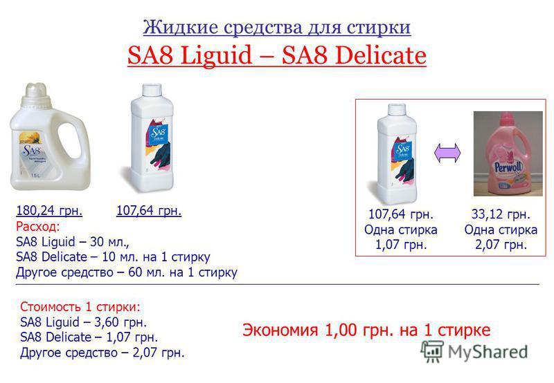 Жидкие средства для стирки SA8 Liguid – SA8 Delicate Стоимость 1 стирки: SA8 Liguid – 3,60 грн. SA8 Delicate – 1,07 грн. Другое средство – 2,07 грн. 107,64 грн.180,24 грн. Расход: SA8 Liguid – 30 мл., SA8 Delicate – 10 мл. на 1 стирку Другое средство