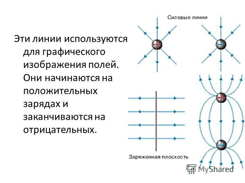 Эти линии используются для графического изображения полей. Они начинаются на положительных зарядах и заканчиваются на отрицательных.