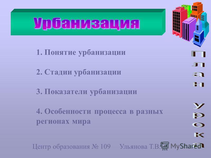 1. Понятие урбанизации 2. Стадии урбанизации 3. Показатели урбанизации 4. Особенности процесса в разных регионах мира Центр образования 109 Ульянова Т.В.
