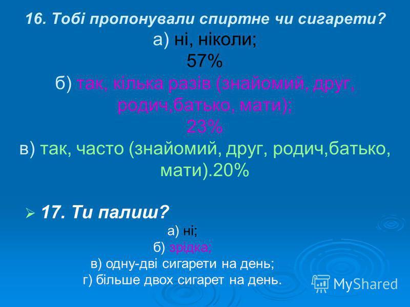 16. Тобі пропонували спиртне чи сигарети? а) ні, ніколи; 57% б) так, кілька разів (знайомий, друг, родич,батько, мати); 23% в) так, часто (знайомий, друг, родич,батько, мати).20% 17. Ти палиш? а) ні; б) зрідка; в) одну-дві сигарети на день; г) більше