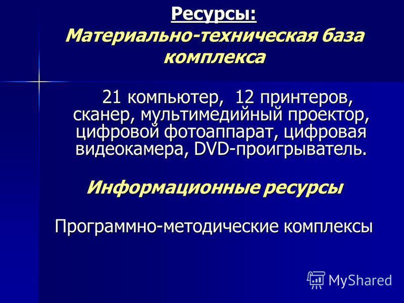 Ресурсы: Материально-техническая база комплекса 21 компьютер, 12 принтеров, сканер, мультимедийный проектор, цифровой фотоаппарат, цифровая видеокамера, DVD-проигрыватель. 21 компьютер, 12 принтеров, сканер, мультимедийный проектор, цифровой фотоаппа
