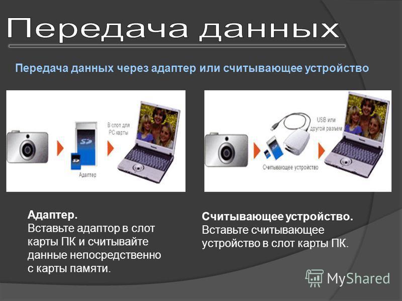 Передача данных через адаптер или считывающее устройство Адаптер. Вставьте адаптор в слот карты ПК и считывайте данные непосредственно с карты памяти. Считывающее устройство. Вставьте cчитывающее устройство в слот карты ПК.