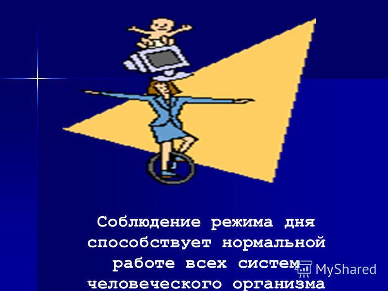 Соблюдение режима дня способствует нормальной работе всех систем человеческого организма