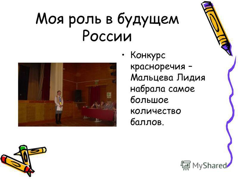 Моя роль в будущем России Конкурс красноречия – Мальцева Лидия набрала самое большое количество баллов.