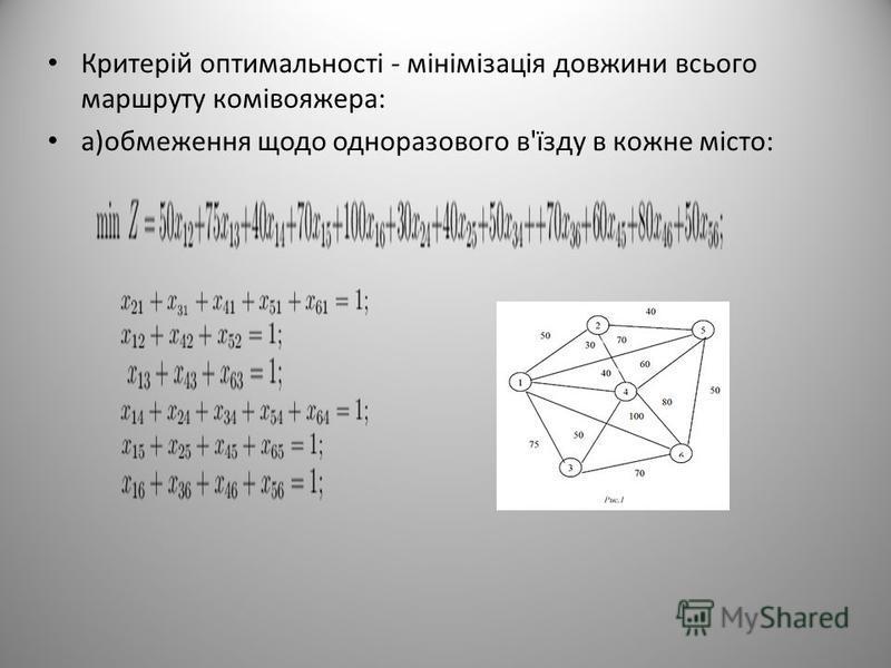 Критерій оптимальності - мінімізація довжини всього маршруту комівояжера: а)обмеження щодо одноразового в'їзду в кожне місто: