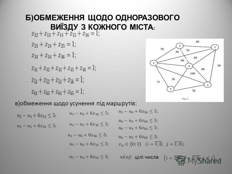 Б)ОБМЕЖЕННЯ ЩОДО ОДНОРАЗОВОГО ВИЇЗДУ З КОЖНОГО МІСТА : в)обмеження щодо усунення під маршрутів: цілі числа