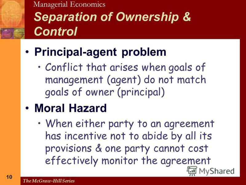 the influence of corporate governance in the separation of ownership and control Enable business control systems corporate governance  • the separation of ownership and control & the concept of control or that exert influence on.