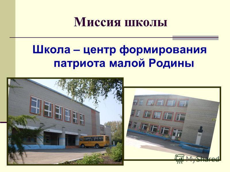 Миссия школы Школа – центр формирования патриота малой Родины