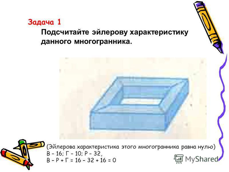 Задача 1 Подсчитайте эйлерову характеристику данного многогранника. (Эйлерова характеристика этого многогранника равна нулю) В – 16; Г – 10; Р – 32, В – Р + Г = 16 – 32 + 16 = 0