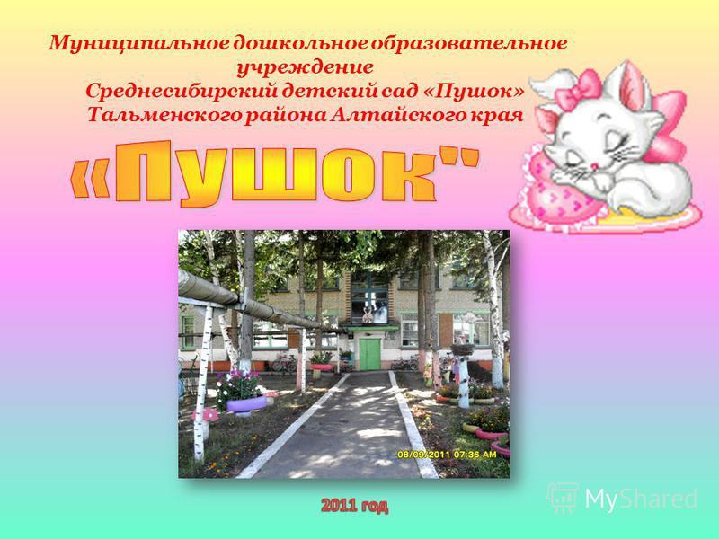 Муниципальное дошкольное образовательное учреждение Среднесибирский детский сад «Пушок» Тальменского района Алтайского края
