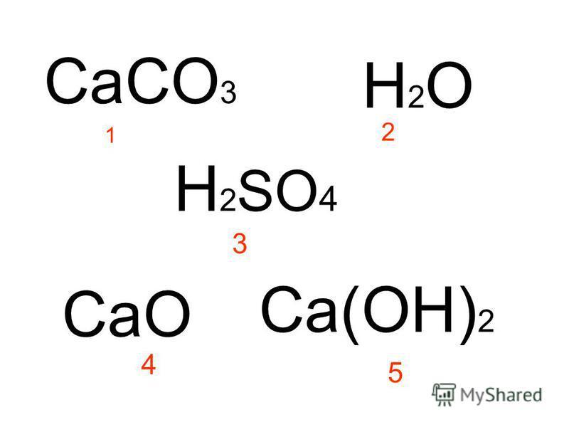 CaCO 3 H2OH2O 1 2 H 2 SO 4 3 CaO Ca(OH) 2 4 5