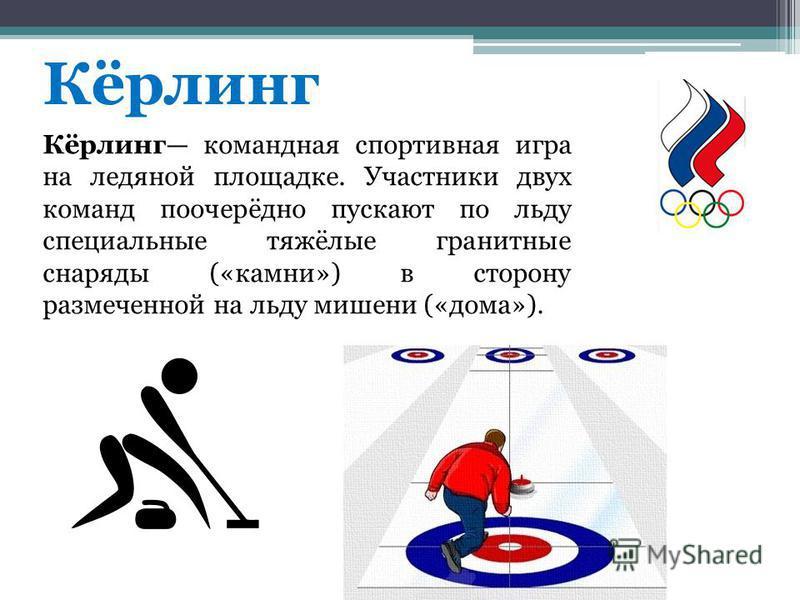 Кёрлинг Кёрлинг командная спортивная игра на ледяной площадке. Участники двух команд поочерёдно пускают по льду специальные тяжёлые гранитные снаряды («камни») в сторону размеченной на льду мишени («дома»).