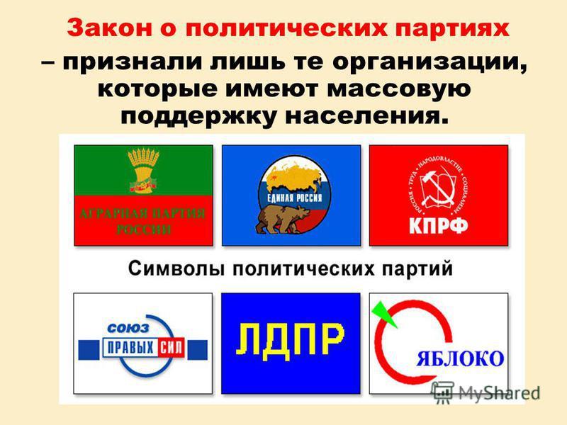 Закон о политических партиях – признали лишь те организации, которые имеют массовую поддержку населения.