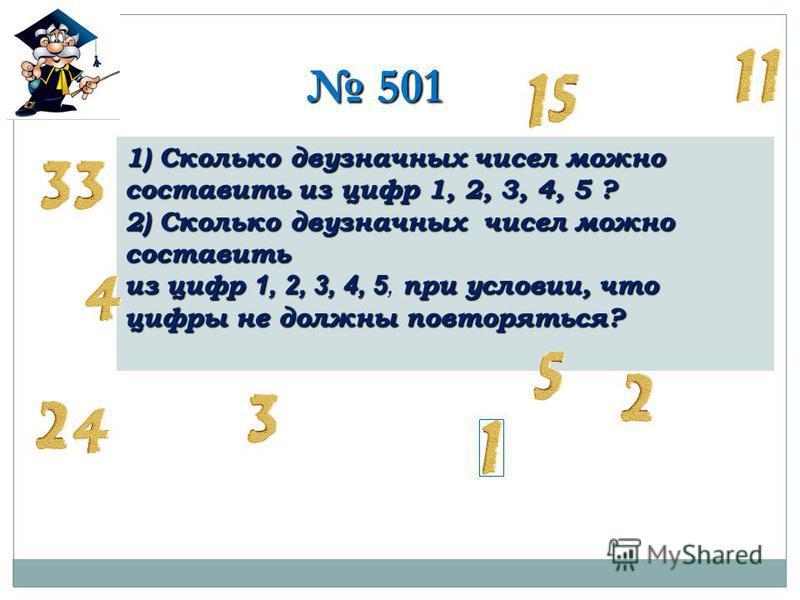 501 501 1) Сколько двузначных чисел можно составить из цифр 1, 2, 3, 4, 5 ? 2) Сколько двузначных чисел можно составить из цифр 1, 2, 3, 4, 5 при условии, что цифры не должны повторяться? из цифр 1, 2, 3, 4, 5, при условии, что цифры не должны повтор