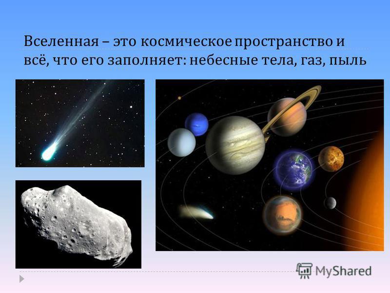 Вселенная – это космическое пространство и всё, что его заполняет : небесные тела, газ, пыль