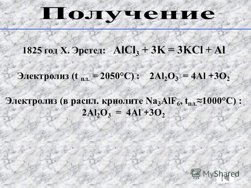 1825 год Х. Эрстед: AlCl 3 + 3K = 3KCl + Al Электролиз (t пл. = 2050°С) : 2Al 2 O 3 = 4Al + 3O 2 Электролиз (в распил. криолите Na 3 AlF 6, t пл.1000°С) : 2Al 2 O 3 = 4Al + 3O 2