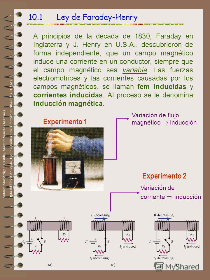 10.1 Ley de Faraday-Henry A principios de la década de 1830, Faraday en Inglaterra y J. Henry en U.S.A., descubrieron de forma independiente, que un campo magnético induce una corriente en un conductor, siempre que el campo magnético sea variable. La