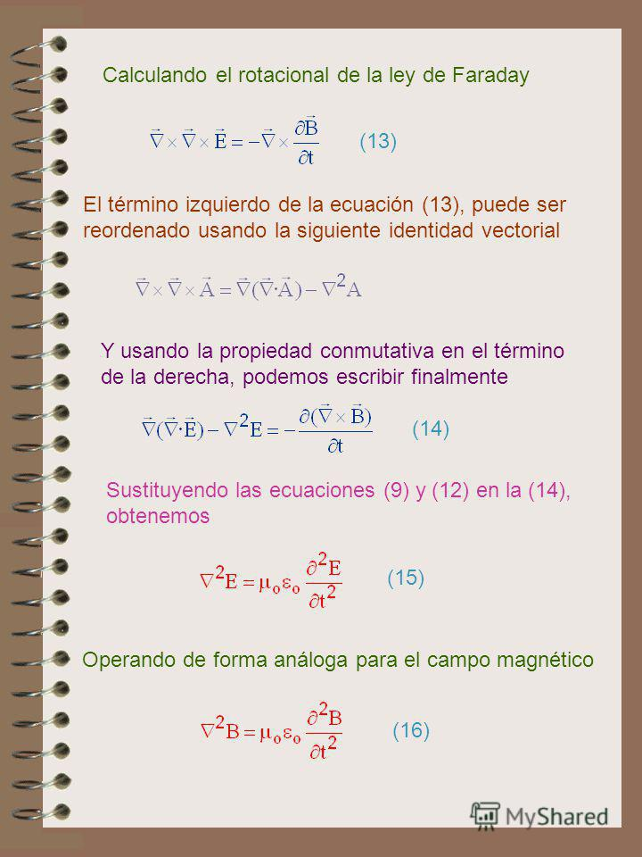 El término izquierdo de la ecuación (13), puede ser reordenado usando la siguiente identidad vectorial Calculando el rotacional de la ley de Faraday (13) Y usando la propiedad conmutativa en el término de la derecha, podemos escribir finalmente (14)