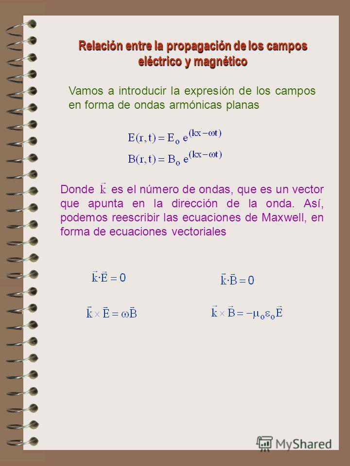 Relación entre la propagación de los campos eléctrico y magnético Vamos a introducir la expresión de los campos en forma de ondas armónicas planas Donde es el número de ondas, que es un vector que apunta en la dirección de la onda. Así, podemos reesc