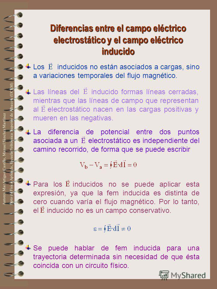 Diferencias entre el campo eléctrico electrostático y el campo eléctrico inducido Los inducidos no están asociados a cargas, sino a variaciones temporales del flujo magnético. Las líneas del inducido formas líneas cerradas, mientras que las líneas de