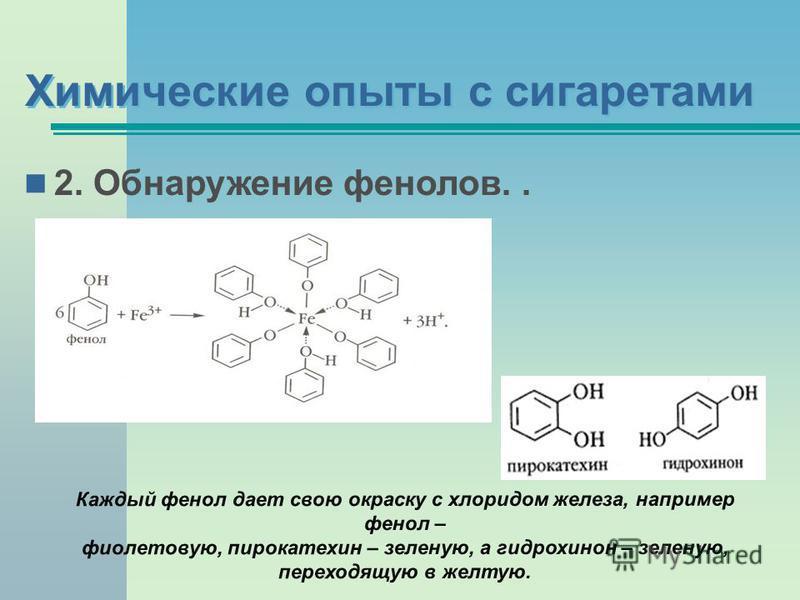 2. Обнаружение фенолов.. Каждый фенол дает свою окраску с хлоридом железа, например фенол – фиолетовую, пирокатехин – зеленую, а гидрохинон – зеленую, переходящую в желтую.