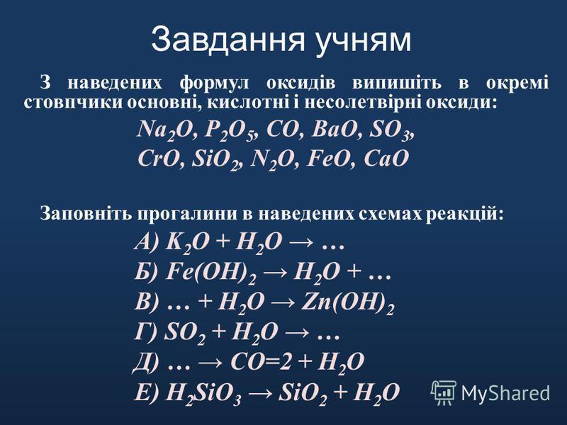 Завдання учням З наведених формул оксидів випишіть в окремі стовпчики основні, кислотні і несолетвірні оксиди: Na 2 O, P 2 O 5, CO, BaO, SO 3, CrO, SiO 2, N 2 O, FeO, CaO Заповніть прогалини в наведених схемах реакцій: А) K 2 O + H 2 O … Б) Fe(OH) 2