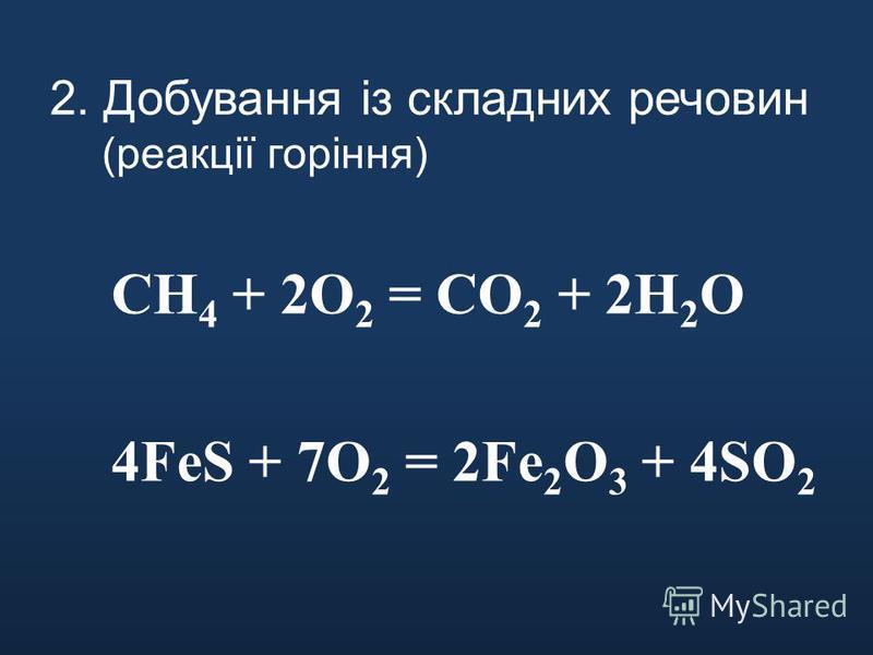 2. Добування із складних речовин (реакції горіння) СH 4 + 2O 2 = CO 2 + 2H 2 O 4FeS + 7O 2 = 2Fe 2 O 3 + 4SO 2