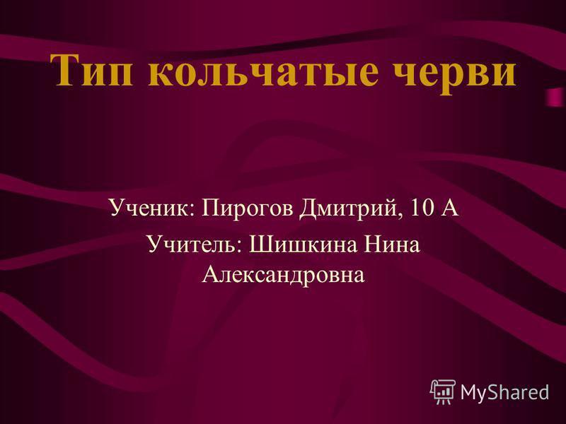 Тип кольчатые черви Ученик: Пирогов Дмитрий, 10 А Учитель: Шишкина Нина Александровна