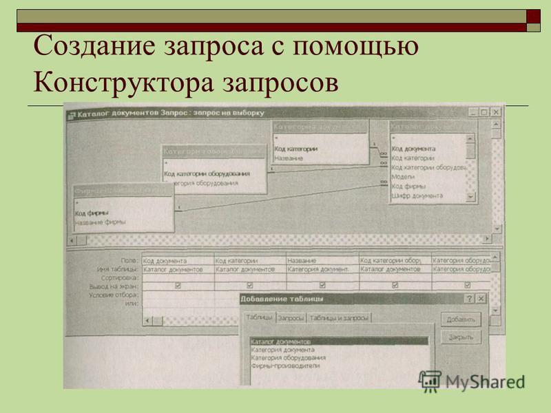 Создание запроса с помощью Конструктора запросов