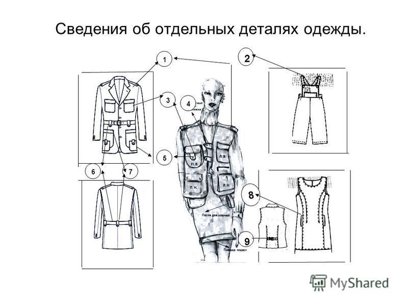 Сведения об отдельных деталях одежды. 1 7 9 2 8 5 4 6 3