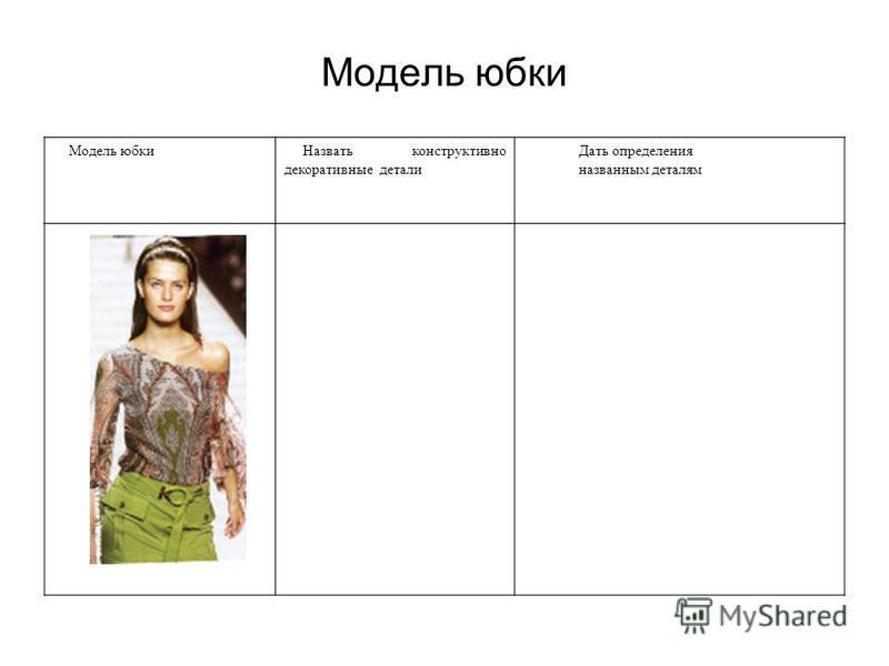 Модель юбки Назвать конструктивно декоративные детали Дать определения названным деталям