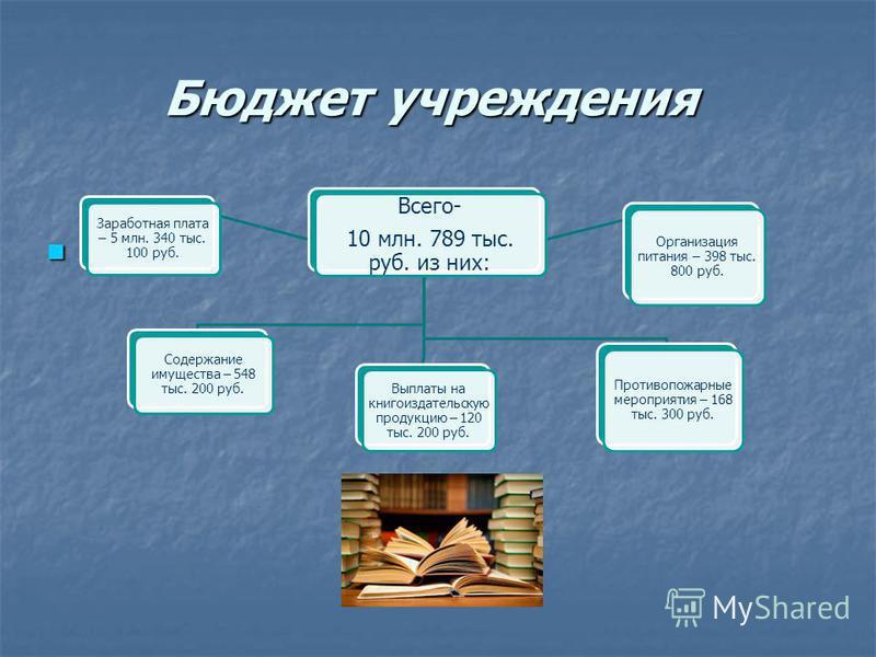 Бюджет учреждения Всего- 10 млн. 789 тыс. руб. из них: Заработная плата – 5 млн. 340 тыс. 100 руб. Выплаты на книгоиздательскую продукцию – 120 тыс. 200 руб. Содержание имущества – 548 тыс. 200 руб. Противопожарные мероприятия – 168 тыс. 300 руб. Орг