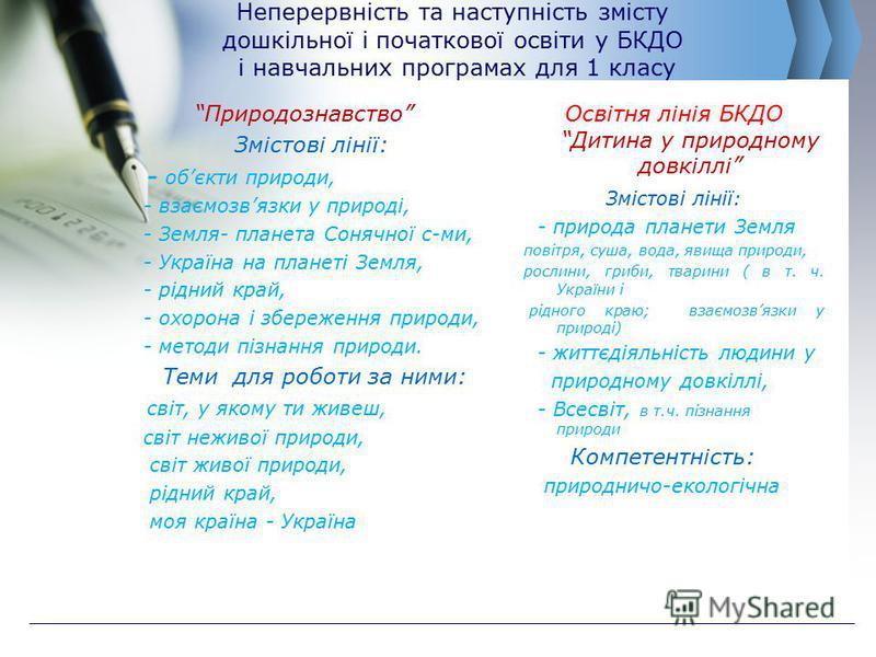 Неперервність та наступність змісту дошкільної і початкової освіти у БКДО і навчальних програмах для 1 класу Природознавство Змістові лінії: - обєкти природи, - взаємозвязки у природі, - Земля- планета Сонячної с-ми, - Україна на планеті Земля, - рід
